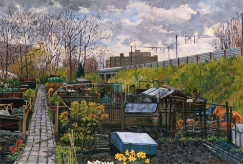 Volkstuin Bos en Lommer, Amsterdam, olieverf, 35 x 50 cm, 2001, huile, Jardin ouvrier, Amsterdam