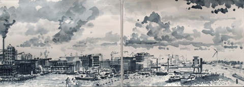 Houthaven, Amsterdam, sumi-inkt, 18 x 51 cm, 10/2019, encre sumi, Le port d'Amsterdam