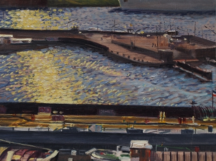 Houthaven, A'dam, olieverf, 19 x 25 cm, 3/2009, huile, Amsterdam