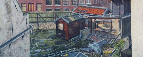 Uitzicht Brouwersgracht 673, Amsterdam, olieverf, 19 x 46 cm, 5/2009, huile, Amsterdam