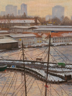 Houthaven, Amsterdam, olieverf, 25 x 19 cm, 1/2010, huile, Amsterdam