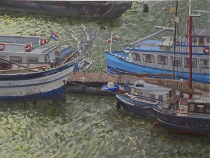 <em>Uitzicht Silodam, Amsterdam</em>, olieverf, 19 x 25 cm, 4/2010, huile, <em>Amsterdam</em>