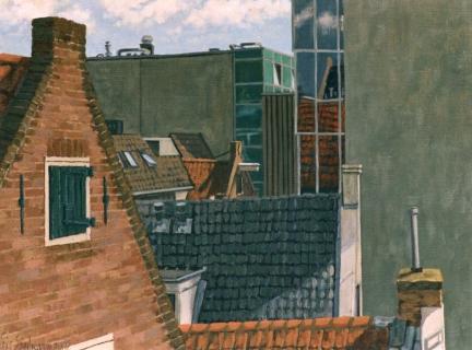 Dirk van Hasseltsteeg, Amsterdam, olieverf, 24 x 32 cm, 2002, huile, Amsterdam
