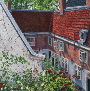 Het Raepenhofje, Amsterdam, olieverf, 30 x 30 cm, 6/2010, huile, Amsterdam