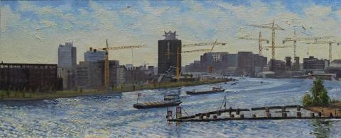 Uitzicht Silodam richting Shelltoren, A'dam, olieverf, 19 x 46 cm, 6/2010, huile, Amsterdam