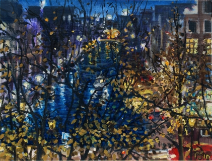 Uitzicht Prinsengracht 353, Amsterdam, olieverf, 19 x 25 cm, 11/2010, huile, Amsterdam