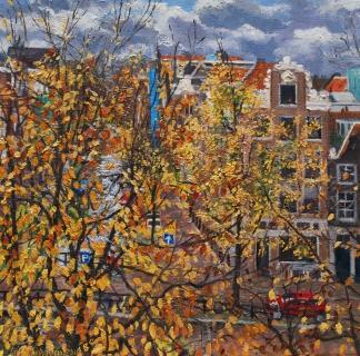 Uitzicht Prinsengracht 353, Amsterdam, olieverf, 30 x 30 cm, 11/2010, huile, Amsterdam