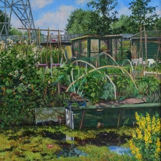 Nutstuin De Molenaar, Landsmeer, olieverf, 35 x 35 cm, 6/2011, huile, Jardin ouvrier, Landsmeer