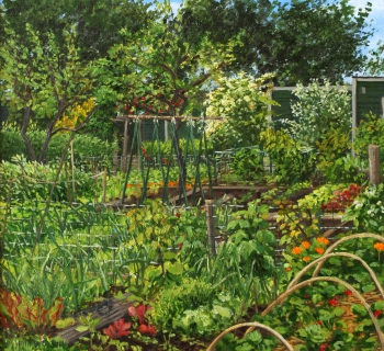 Nutstuin De Molenaar, Landsmeer, olieverf, 29 x 32 cm, 6/2011, huile, Jardin ouvrier, Landsmeer
