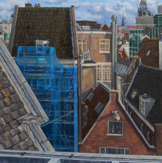 Uitzicht Spuistraat op de Kolk, Amsterdam, olieverf, 35 x 35 cm, 10/2011, huile, Amsterdam