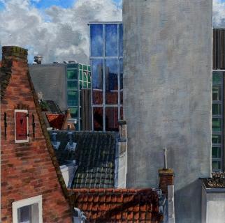 Uitzicht op Dirk van Hasseltsteeg, A'dam, olieverf, 35 x 35 cm, 10/2011, huile, Amsterdam