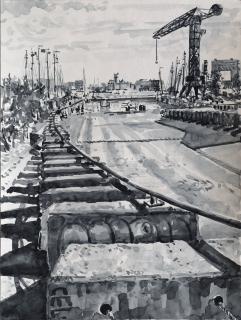 NDSM-Plein, Amsterdam,sumi-ink, 40 x 30 cm, 5/2020, sumi-ink, Amsterdam