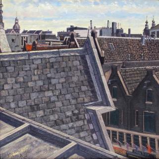 Blue Boy - Spuistraat, Amsterdam, olieverf, 40 x 40 cm, 2002, huile, Amsterdam