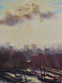 Van Diemenstraat, Amsterdam, olieverf, 25 x 19 cm, 1/2012, huile, Amsterdam