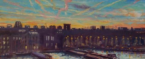 Van Diemenstraat, Amsterdam, olieverf, 19 x 46 cm, 1/2012, huile, Amsterdam