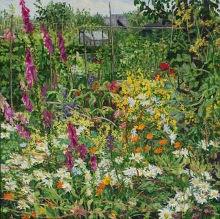 Tuintje Trudy, Landsmeer, olieverf, 35 x 35 cm, 7/2012, huile, Jardin ouvrier, Landsmeer