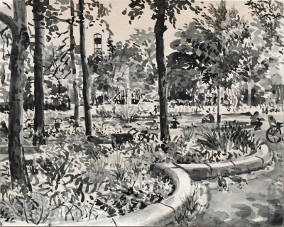Oosterpark, Amsterdam,sumi-ink, 24 x 30 cm, 6/2020, sumi-ink, Amsterdam