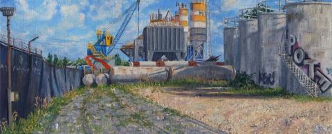 Metselspeciecentrale A'dam MSA, Cruquiusweg, olieverf, 19 x 46 cm, 9/2013, huile, Usine de mortier à Amsterdam