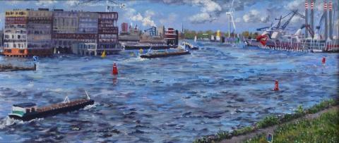 Uitzicht Overhoeksparklaan richting Silodam, A'dam, olieverf, 19 x 46 cm, 6/2015, huile, Amsterdam