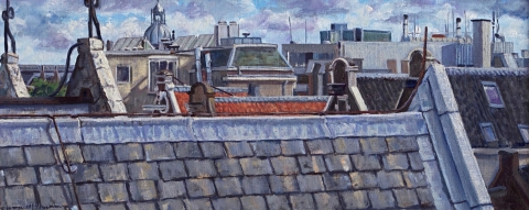 Uitzicht Spuistraat 12, Amsterdam, olieverf, 19 x 46 cm, 7/2015, huile, Amsterdam