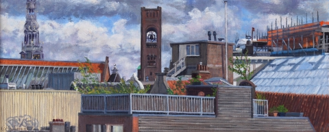 Oude Kerk en Beurs van Berlage, Amsterdam, olieverf, 19 x 46 cm, 7/2015, huile, Amsterdam