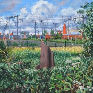 Museum Het Schip vanuit Westerpark, A'dam, olieverf, 30 x 30 cm, 7/2015, huile, Amsterdam