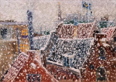 Uitzicht uit mijn atelier, pastel, 21 x 30 cm, 12/2017, huile, La vue de mon atelier