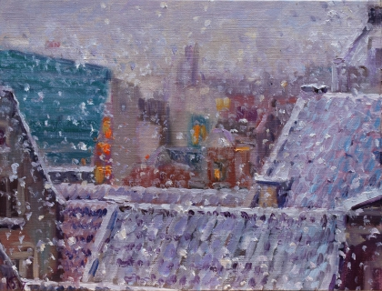 Uitzicht uit mijn atelier, olieverf, 19 x 25 cm, 12/2017, huile, La vue de mon atelier