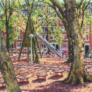 Theophile de Bockstraat, olieverf, 35 x 35 cm, 5/2018, huile, Amsterdam