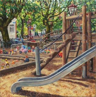 Herenmarkt, olieverf, 35 x 35 cm, 5/2018, huile, Amsterdam