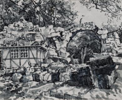 Berggeiten in Artis, sumi inkt, 24 x 30 cm, 10/2018, , encre sumi, Zoo d'Amsterdam