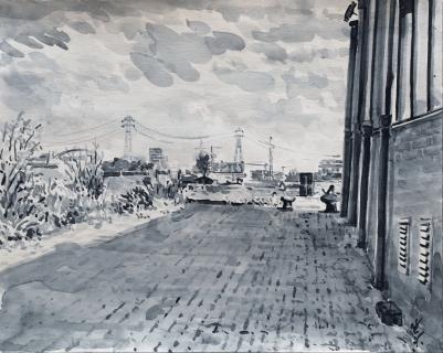Bij pont Zamenhofstraat, Amsterdam, sumi-inkt , 24 x 30 cm, 6/2020, encre sumi, Amsterdam
