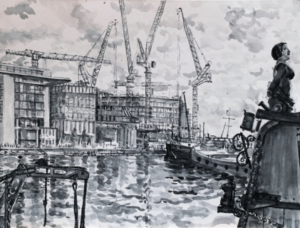 Oosterdokskade, Amsterdam, sumi-inkt , 30 x 40 cm, 9/2020, encre sumi,  Amsterdam