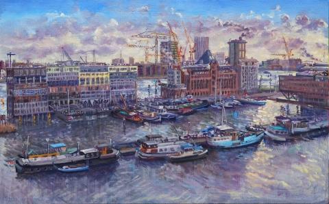 Silodam, Amsterdam, olieverf, 30 x 48 cm, 12/2020, huile, Amsterdam