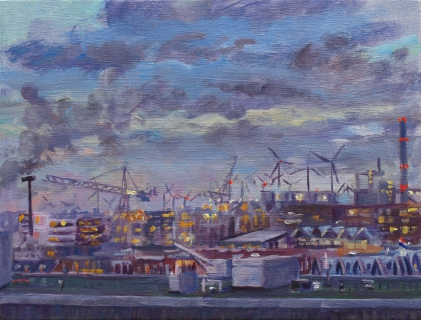 Houthaven, Amsterdam, olieverf, 19 x 25 cm, 12/2020, huile, Amsterdam
