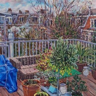 Uitzicht Burgerstraat, Amsterdam, olieverf, 35 x 35 cm, 1/2021, huile,  Amsterdam