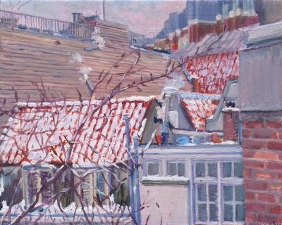 Suikerbakkerssteeg, Amsterdam, olieverf, 19 x 24 cm, 2/2021, huile, Amsterdam