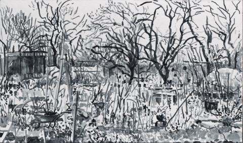 Mijn Stadstuin, Geuzenveld, sumi-inkt, 17 x 30 cm, 2/2021, encre sumi, Geuzenveld