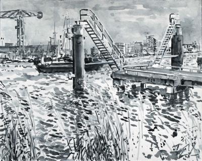 Haparandadam, Amsterdam, sumi-inkt, 24 x 30 cm, 2/2021, encre sumi, Amsterdam