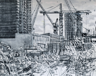 Hyperion Lyceum, Amsterdam Noord, sumi-inkt, 24 x 30 cm, 2/2021, encre sumi, Amsterdam