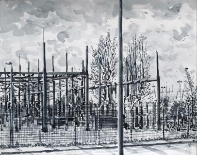 150kV-station Metaalbewerkerweg, Amsterdam Noord, sumi-inkt, 24 x 30 cm, 2/2021, encre sumi, Amsterdam