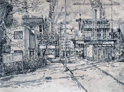 Bij Tolhuistuin, Amsterdam Noord, sumi-inkt, 30 x 40 cm, 3/2021, encre sumi, Amsterdam