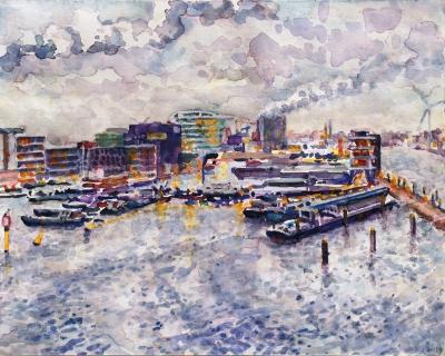 Houthaven Amsterdam, aquarel, 24 x 30 cm, 2/2019, aquarelle, Amsterdam