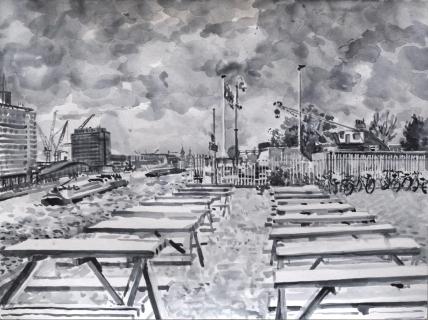 Uitzicht F.C. Hyena, Amsterdam,sumi-ink, 30 x 40 cm, 6/2020, sumi-ink, Amsterdam