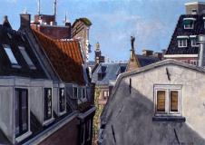 De Westertoren, Amsterdam, olieverf, 21 x 30 cm, 4/2005, huile, Amsterdam