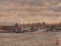 Uitzicht Silodam, richting Klaprozenweg, A'dam, olieverf, 19 x 25 cm, 1/2008, huile, Amsterdam