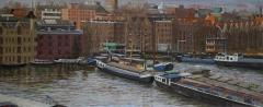 Van Diemenstraat, Amsterdam, olieverf, 19 x 46 cm, 3/2008, huile, Amsterdam