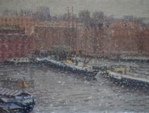 Van Diemenstraat-Houtmankade, A'dam, olieverf, 19 x 25 cm, 3/2008, huile, Amsterdam
