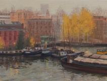 Van Diemenstraat-Houtmankade, Amsterdam, olieverf, 19 x 25 cm, 10/2008, huile, Amsterdam
