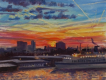 Houthaven, Amsterdam, olieverf, 19 x 25 cm, 3/2009, huile, Le port d'Amsterdam